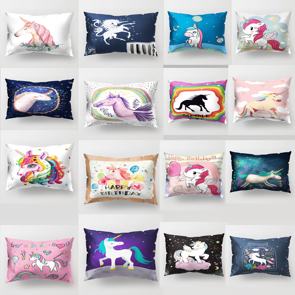 Mother & Kids Lovely 50*30cm Hot Sell Long Pillow Covers For Sofa Sofa Car Pillow Cover Print Unicorn Pillowcase Home Decor Horse Pillow Case Pp52 Pure And Mild Flavor