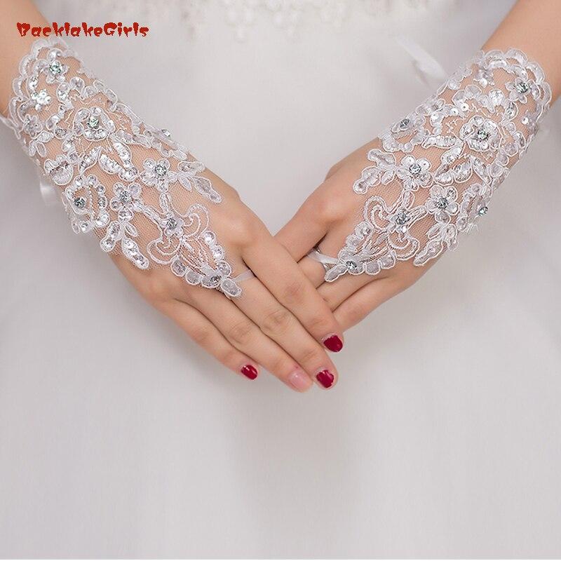 Hochzeit Zubehör Backlakegirls Großhandel Fingerlose Weiß Rot Beige Hochzeit Zubehör Großhandel Elegante Wulstige Spitze Kurze Brauthandschuhe Klar Und GroßArtig In Der Art