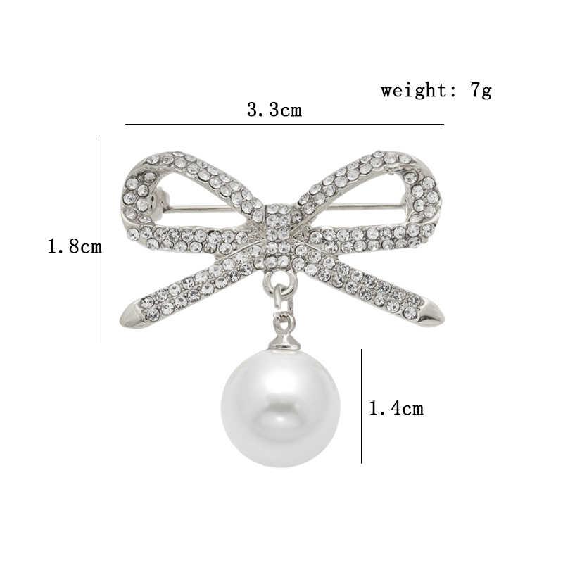 Populer Busur Kristal Pearl Liontin Bros Temperamen Berlian Imitasi Dasi Pin Perempuan Sweater Scarf Fashion Aksesoris