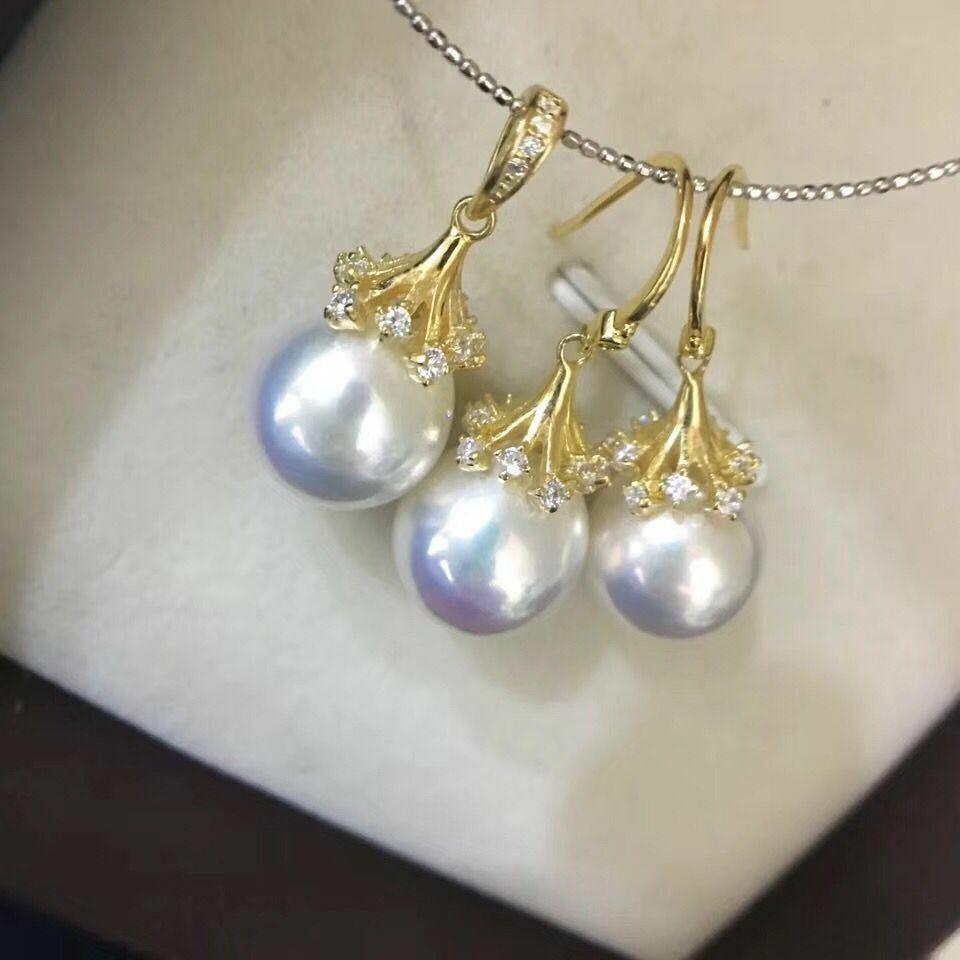 Lot de 11-12mm mer du sud rond blanc perle boucle d'oreille & pendentif 18 k