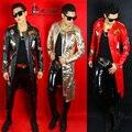 DJ cantante masculino de LA PU paño de cuero cazadora chaqueta delgada masculina traje del bailarín estrella mostrar rojo oro negro Blazer chaqueta larga