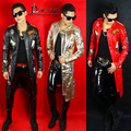 DJ male singer PU leather cloth slim jacket male costume dancer star windbreaker show red black gold Blazer long jacket