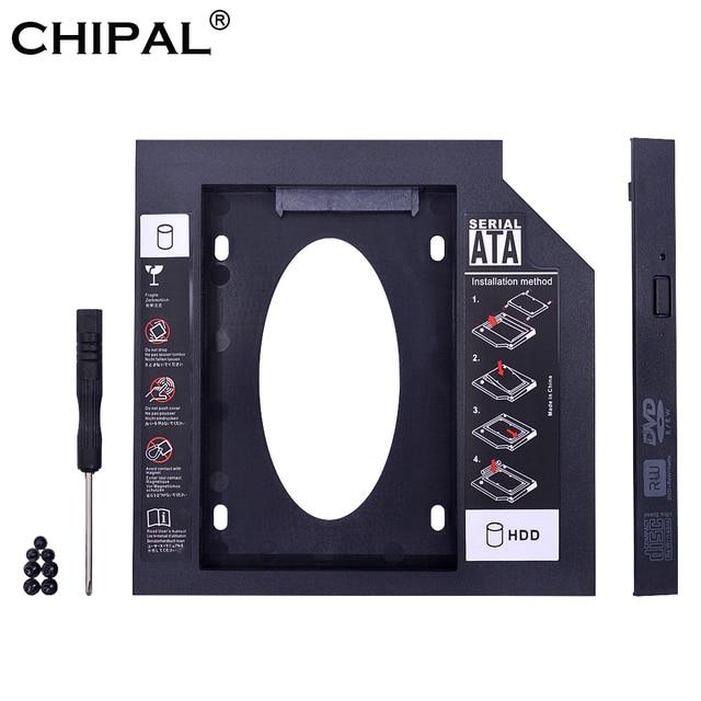CHIPAL Universal segundo HDD Caddy 9,5mm 9mm SATA 3,0 para 2,5 ''SSD adaptador de carcasa de disco duro para ordenador portátil CD-ROM DVD ROM óptico