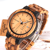 Bobo Bird Natural Solid Wood Wristwatch For Men Fashion Mens Wooden Watch Casual Quartz Pastoral Watches With Week Calendar