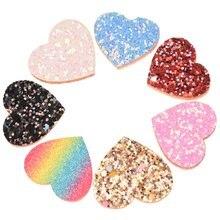 420 adet 2.5 cm * 3 cm Kalp Yama Pullu Saç Aksesuarları Şık Aksesuar Şapkalar Hiçbir Saç Tokası Barrette Düğün dekorasyon Çiçek