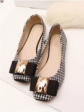 Plus la taille 35-41 de Haute Qualité Classique Plaid Chaussures Femmes Appartements De Mode Bowknot En Métal de Femmes Appartements Marque De Luxe dames Bateau Chaussures