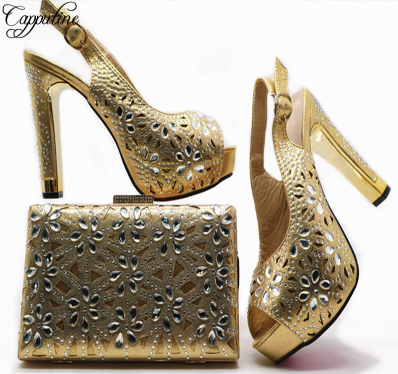 Capputine Latest Gold Color Shoes And Bag Set Italian Ladies Shoe And Bag Set Decorated With Rhinestone Nigeria Party Shoes G49 privatization and firms performance in nigeria