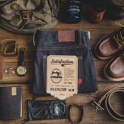 Maden Herren 14,5 unzen Klassische Dünne Gerade Fit Raw Jeans Indigo Kanten Denim Jeans