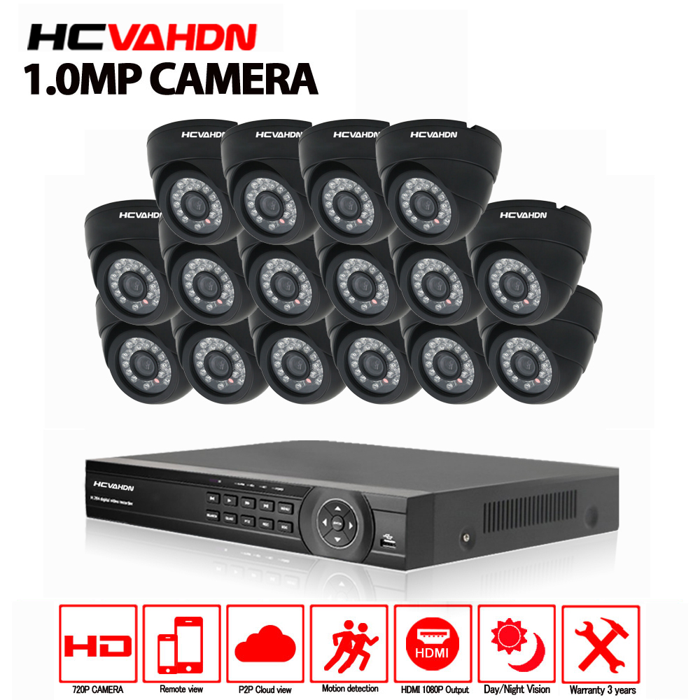 16ch CCTV Sistema di 720 p AHD Fotocamera 16 pz Sistema di Telecamere di Sicurezza AHD DVR 1080 p HDMI CCTV DVR Registratore 1.0MP CCTV kit sistema di Telecamere