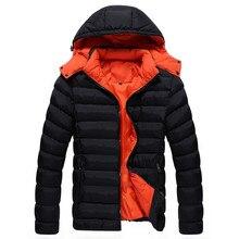 Зима 2017 мужская мода бутик теплый хлопок Контрастность цвет Тонкий отдых съемный шляпа пальто куртки/Мужчины повседневная пальто куртка