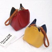 Hit Color Leather Small Women Handbag Mini Crossbody Shoulder Bags Organizer Small Cute Bucket Bag Messenger