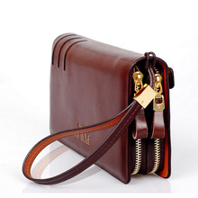 Luxury Genuine Leather Men Wallet New Brown  Zipper Long Man Clutch Coin Purse Polo Brand Male Purse Real Leather Wallet