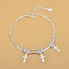 Женский двухслойный браслет из серебра 925 пробы с бусинами