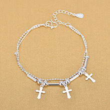 Double Layered 925 Sterling Silver Cross Charm Bracelet For Women Silver Beads Jewelry Gifts vintage layered owl beads bracelet for women