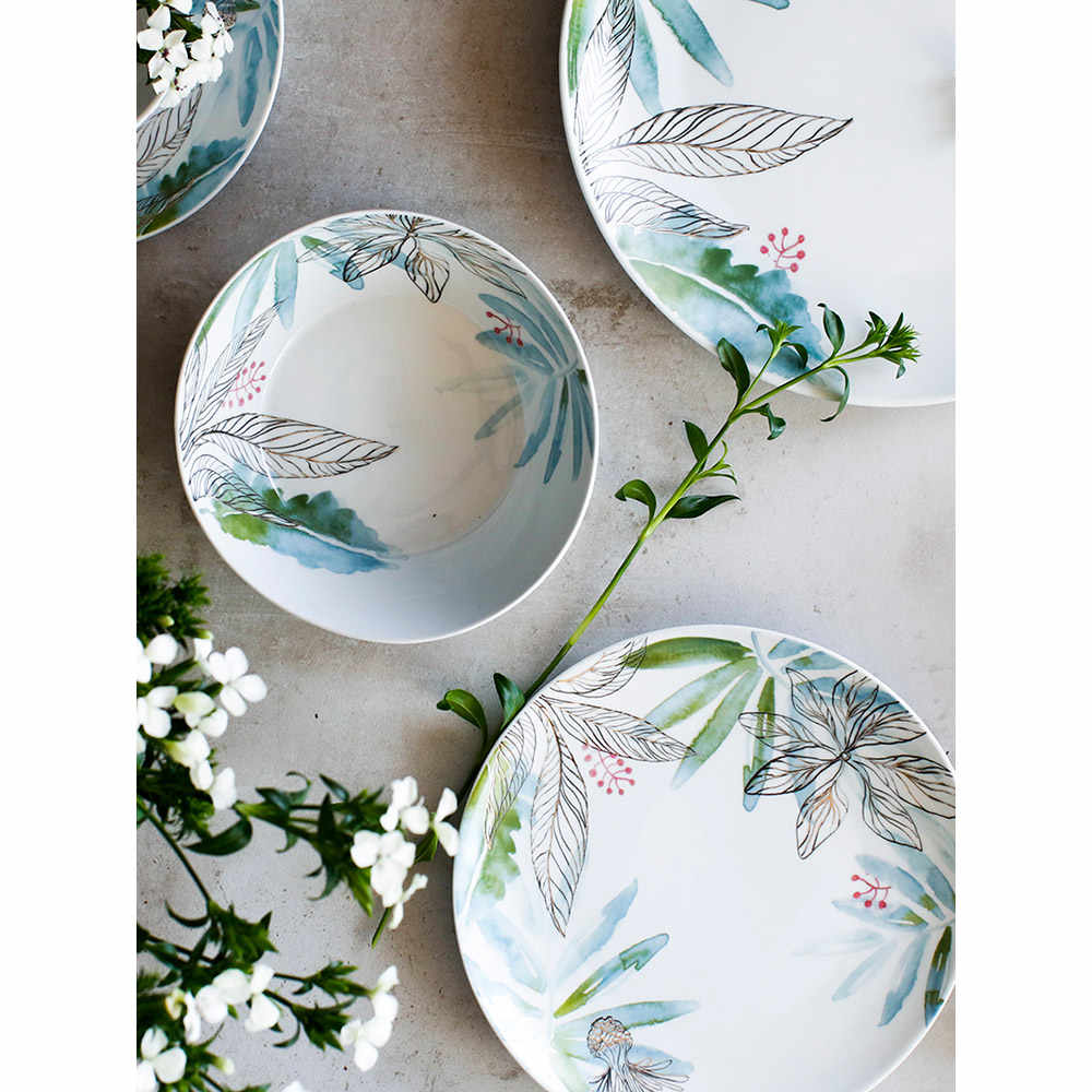 ceramic dinnerware set creative breakfast bowls plates cups set mugs dandelion printed Japan style cutlery set porcelain mug