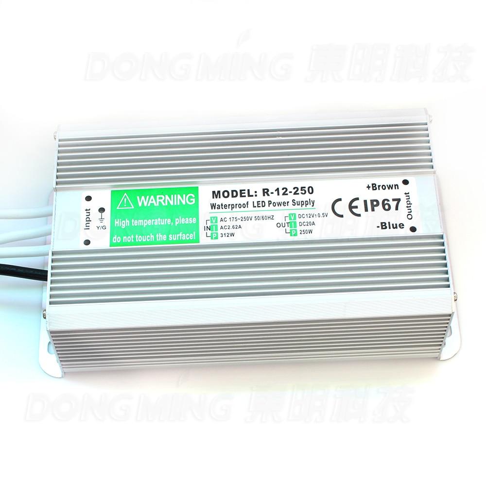 Haute puissance 250 W alimentation pour led lumières 20A interrupteur transformateur AC 110-260 V à DC 12 V étanche IP67 led pilote
