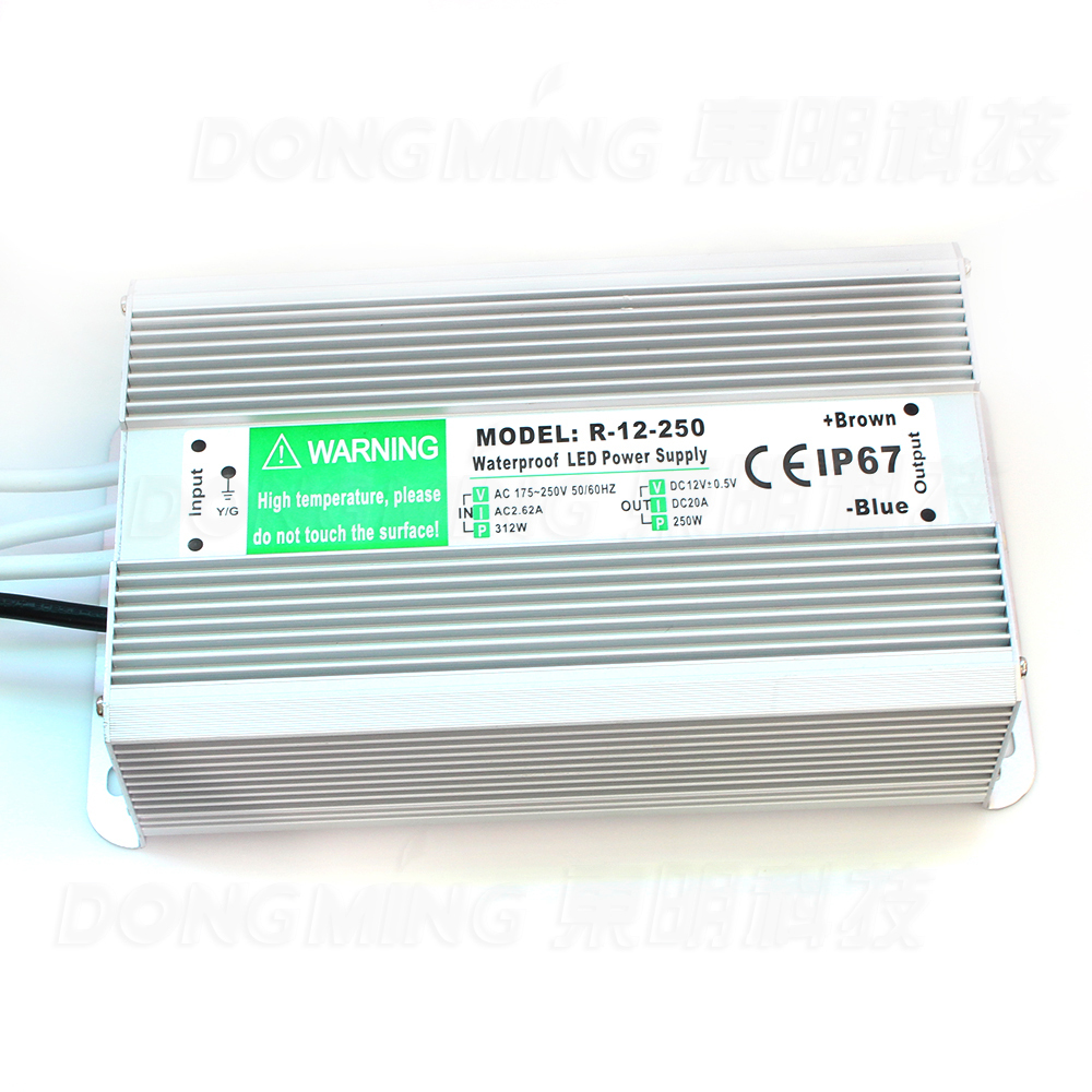 High power 250W power supply for led lights 20A switch transformer AC 110-260V to DC 12V waterproof IP67 led driver 12v dc lighting transformer power supply switch adapter ac 110 220v to dc 12v 20a 250w led driver for led strip lights