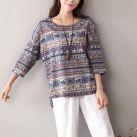 O Neck Half Sleeve Elephant Stripe Print T Shirt Women Cotton Linen Summer Casual T Shirt