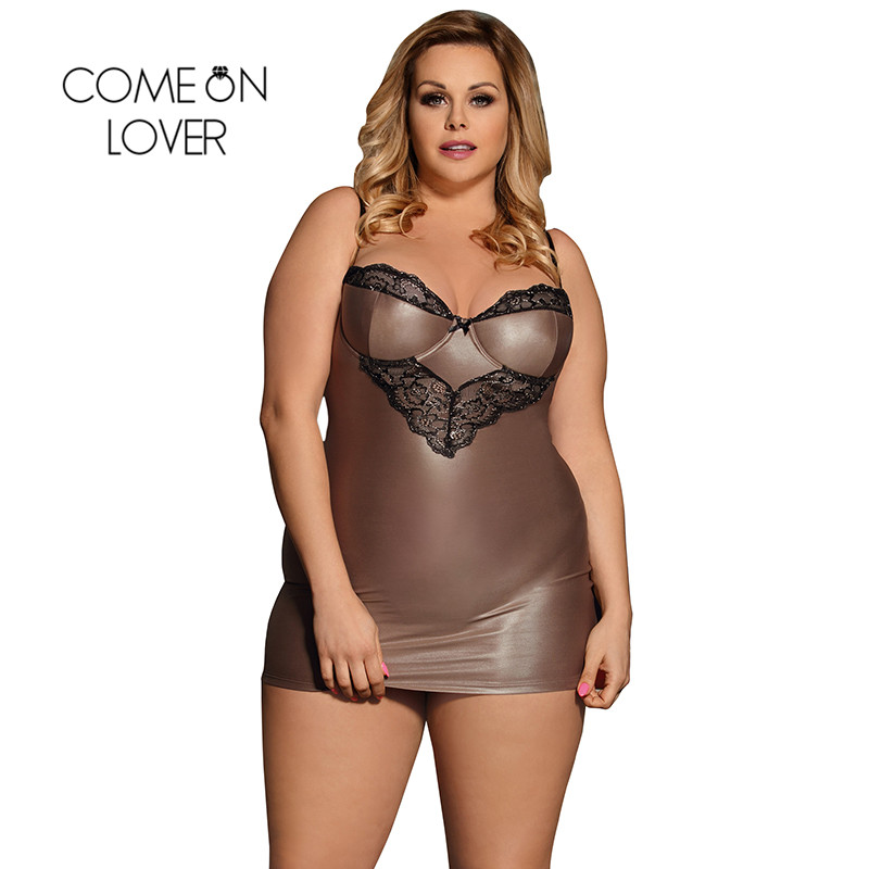 Comeonlover Faux Leather Lenceria Sexy Hot Plus Size Brown With Lace Erotische Kleding Dress + G string Babydoll Dress RI80278