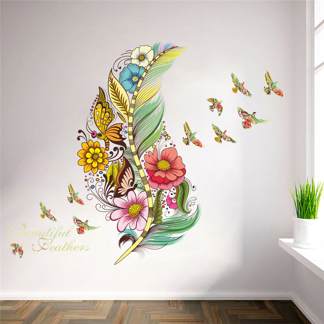 3d Vivid Feather Butterfly Birds Flower Wall Stickers Home