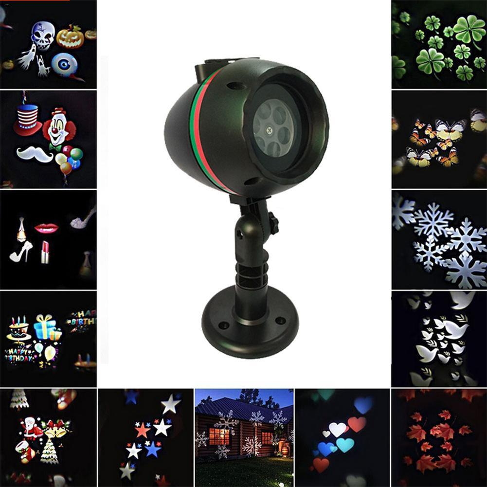 LED 12pattern Christmas Laser Snowflake Projector Outdoor Waterproof Disco Lights Home Garden Star Light Indoor Decoration Lamp Stage Lighting Effect     - title=