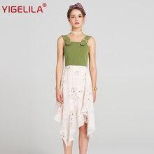 YIGELILA 2017 последние летние Для женщин модные, пикантные Спагетти ремень спинки Империя Асимметричные подолы лоскутное платье с принтом 62831