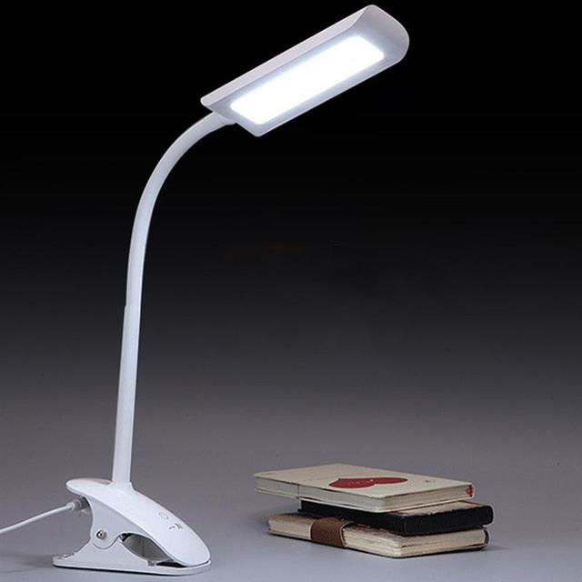 Led reading lamp with clip eye protection table light with gooseneck for indoor home bedroom reading
