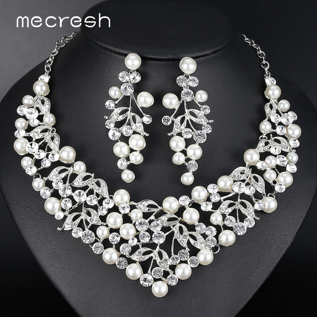 Mecresh Luxury Flower Simulated Pearl Bridal Jewelry Sets Silver Color Wedding Necklace Earrings Indian