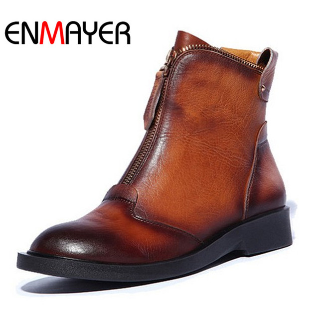 ENMAYER Ankle Boots Zip Round Toe Flats Martin Boots Size 34-42