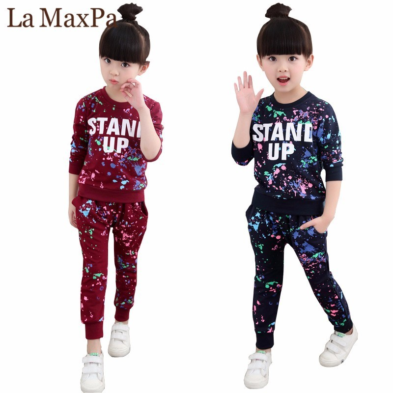 Girls Tracksuits 100% Cotton Spring Sportswear Outfits Girls Sports Suits Graffiti Letter Clothing Sets