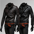 2015 New Autumn winter epaulets pockets more zipper design men Fashion casual Slim Fit pp leather motorcycle leather jacket