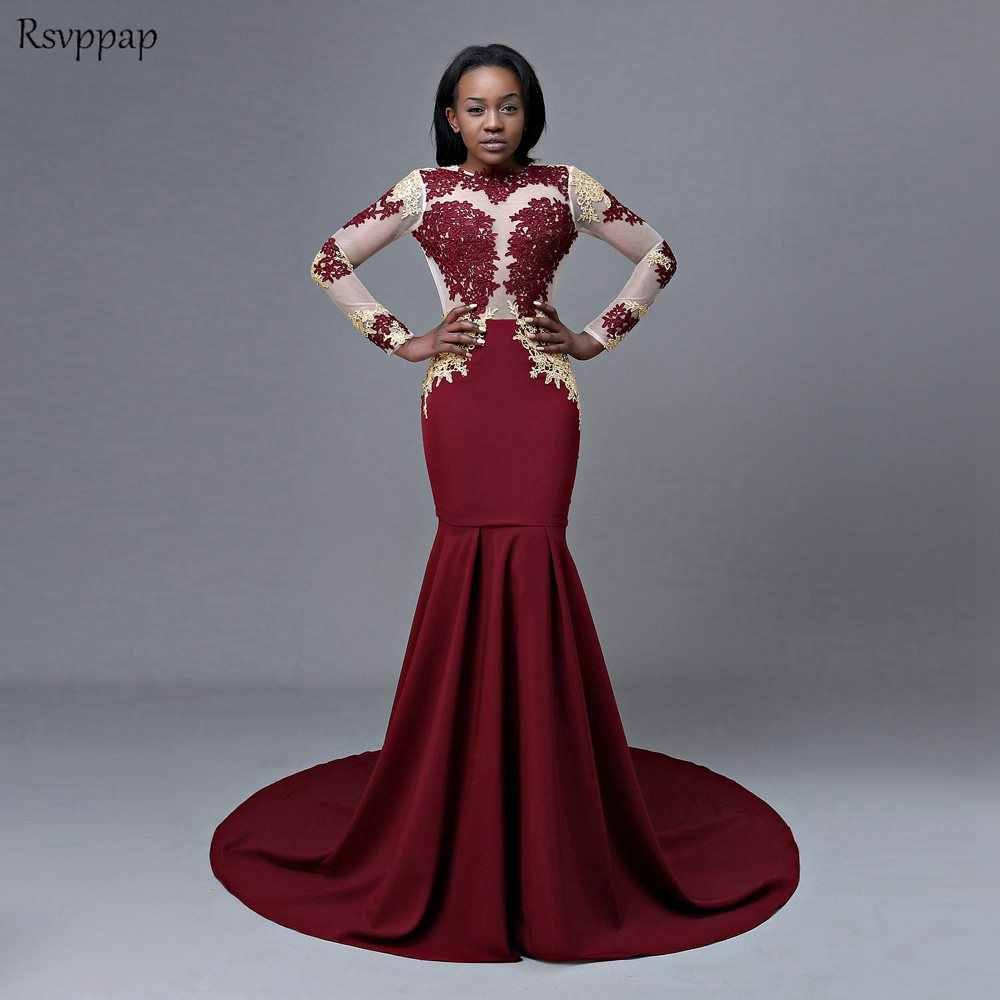 Long Sleeve Prom Dresses 2019 Mermaid Sheer Nude Scoop Neckline Sexy Open  Back Burgundy Mermaid African a1988fd70