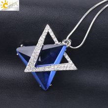 лучшая цена CSJA New Hexagram Drop Pendant Necklaces Hexagon Magen Star of David Crystal Long Necklace Women Sweater Rhinestone Jewelry S219