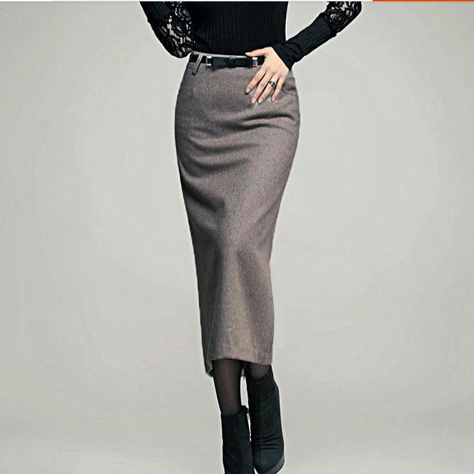 XS-5XL!!autumn Winter New Women Skirt Woolen High Waist Ol Slim Long Pencil Skirt
