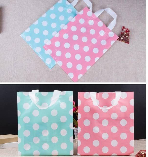 Blue Pink Recycled Plastic Ping Bag Large Gift 100pcs Supermarket
