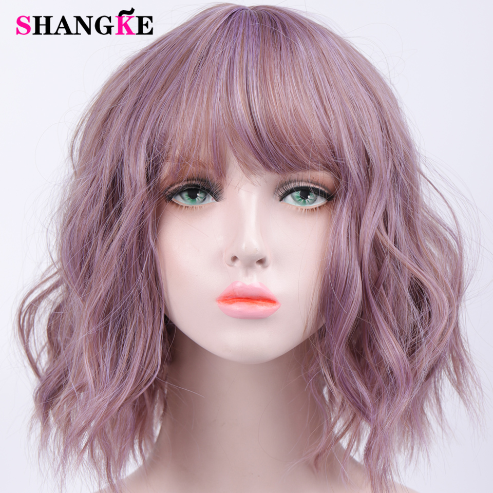 HTB1EUJnVgTqK1RjSZPhq6xfOFXa8 - SHANGKE Short Wavy Wigs for Black Women African American Synthetic Hair Purple Wigs with Bangs Heat Resistant Cosplay Wig
