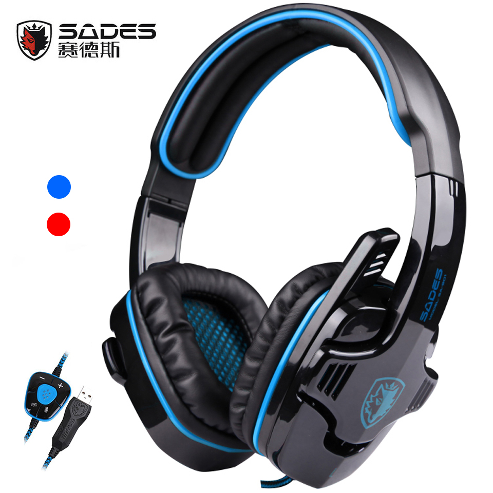 sades arcma computer gaming headset best surround game headphones with microphone for pc gamer usb 3 5mm stereo bass earphones Sades SA901 SA-901 Gaming Headset USB 7.1 Surround Sound bass best Game Headphone with Microphone for computer Laptop PC Gamer