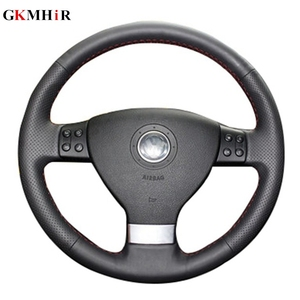 GKMHiR Leather Hand-Stitched Black Car Steering Wheel Cover for Volkswagen Passat B6 Golf 5 Mk5 VW Jetta 5 Mk5 Tiguan 2007-2011