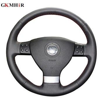 GKMHiR Leather Hand-Stitched Black Car Steering Wheel Cover for Volkswagen Passat B6 Golf 5 Mk5 VW Jetta 5 Mk5 Tiguan 2007-2011