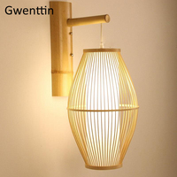 Bamboo Wall Lamps Lantern Shade Sconces Southeast Asia Japanese Country Home Decor LED Light Fixtures Bedroom Stairs Luminarias