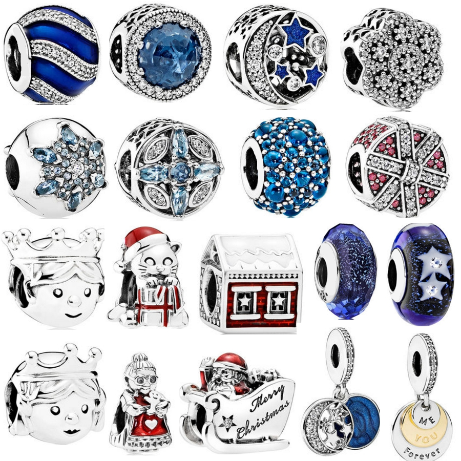 8952467a4 Authentic 925 Sterling Silver Radiant Hearts Blue CZ Crystal Glass Bead Pendant  Fit Pandora Original Charms