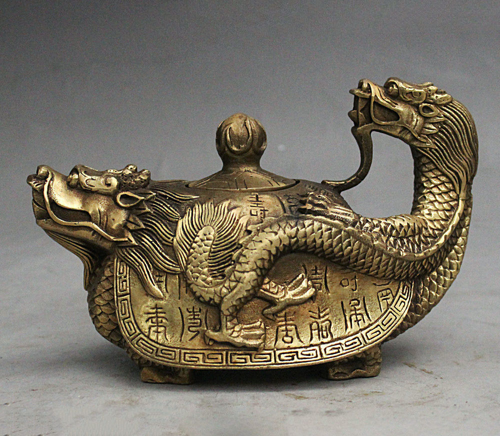 6 Chinese fengshui Brass Lonevity Dragon Turtle Tortoise Teapot flagon wine pot6 Chinese fengshui Brass Lonevity Dragon Turtle Tortoise Teapot flagon wine pot