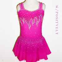 Figure Skating Dress Women's Girls' Ice Skating Dress Competition dresses Rose red Sleeveless style of shoulder strap Fine stone