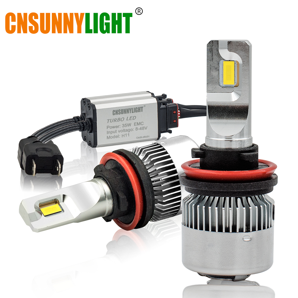 CNSUNNYLIGHT Car Headlights Mini Bulb H7 H11 LED H4 H1 H3 880 9005/HB3 9006/HB4 H13 9000Lm 6000K 12V 24V Auto Fog Light Headlamp 2pcs car headlight bulb kit cree led chip hi lo beam automobile head light lamp 12v 24v auto headlamps h11 h4 h7 9005 9006 h1 h3