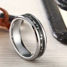 6mm Tungsten Carbide Rings with Cardiogram Carbon Fiber Inlay Women Wedding Band Comfort Fit недорого