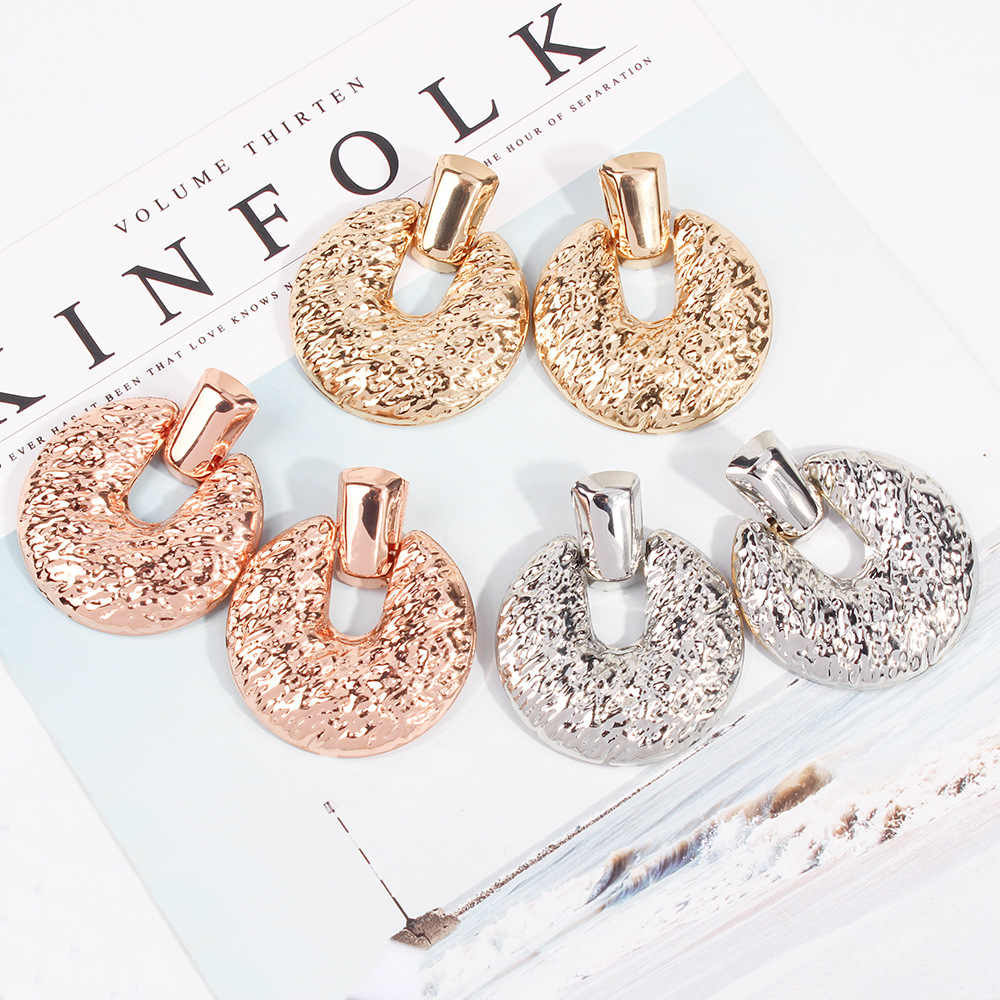 Vintage Alloy Earrings for Women Trendy Gold Color Geometric Big Round Statement Drop Dangle Earring 2018 Fashion Jewelry