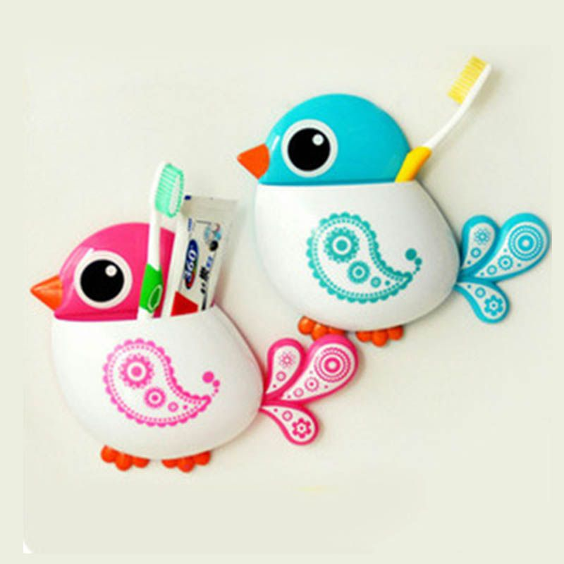 2019 Cartoon Bird Pattern Suction Cup Pink Blue Toothbrush Holder Phone Makeup Brush Rack Bathroom Accessories for Toothbrush image