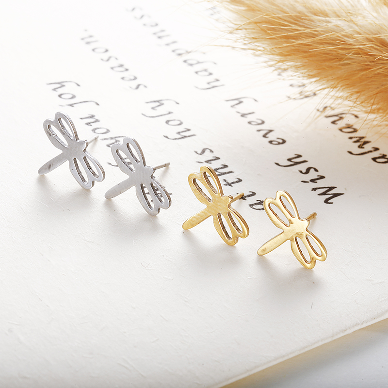 New Arrival dragonfly Silver Gold Color 316 stainless steel Stud Earring For Women Ear Jewelry Girl gift wholesale e0137