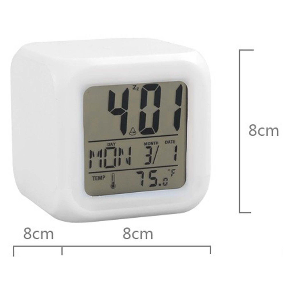 Hot 7 Colors Night Glowing LCD LED Alarm Clock Cube Snooze Thermometer Calendar WITFAMILY