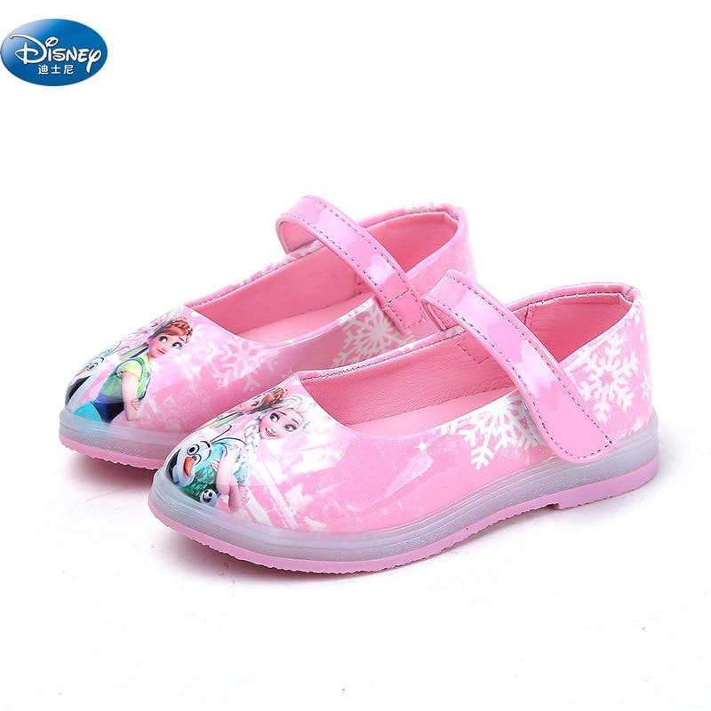 Disney reine des neiges nouvelles filles sandales avec lumière LED 2018 3D chaussures en cuir dessin animé chaussures Europe taille 26-30